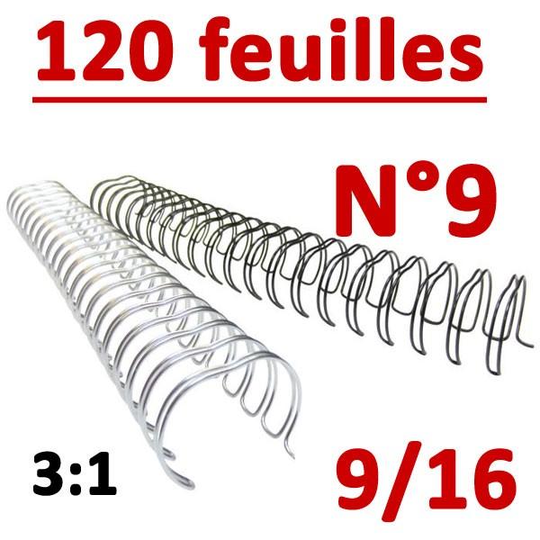 N°9: 14.3mm 120 feuilles 9/16 # Pas 3:1 (34 anneaux)# Boite de 100pcs