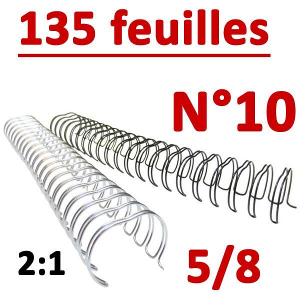 @N°10: 16mm 135 feuilles 5/8  #Pas 2:1 (23 anneaux)#  Boite de 50pcs