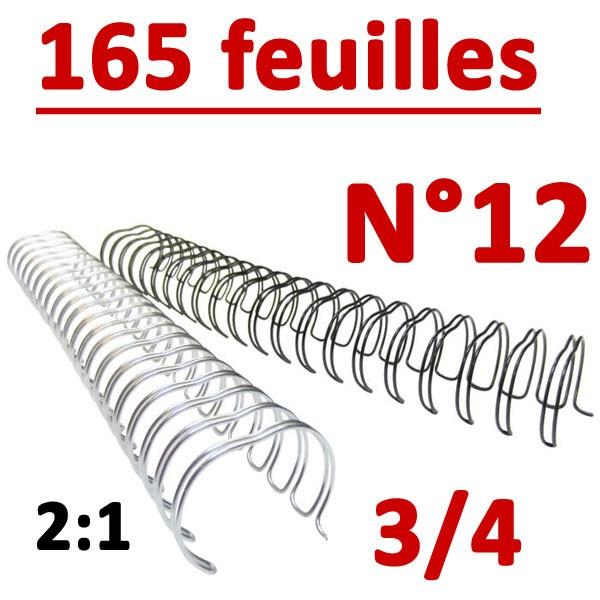 N°12: 19mm 165 feuilles 3/4  #Pas 2:1 (23 anneaux) #Boite de 50pcs