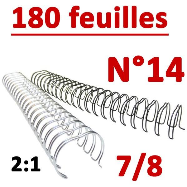 N°14: 22mm 180 feuilles 7/8 #Pas 2:1 (23 anneaux)# Boite de 50pcs