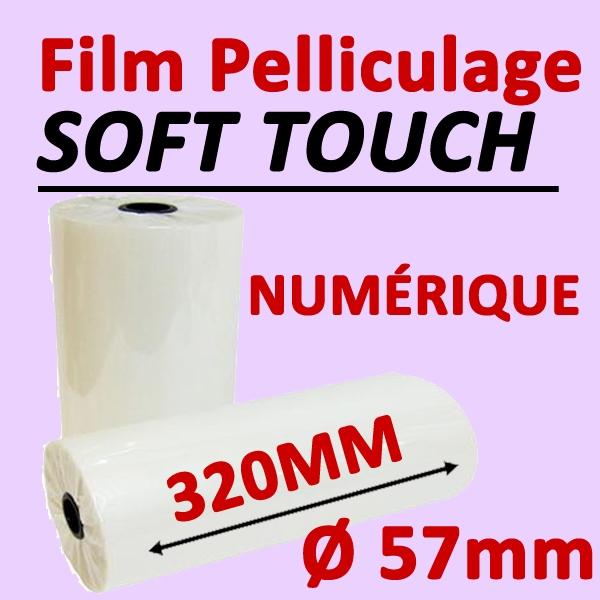 Film Pelliculage SOFT TOUCH# Largeur 320mm Ø 5.7cm #Vendu par 2 Rouleaux de 250 mètres