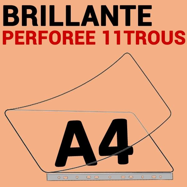 A4 (228mm x 304mm) 2 Faces Brillantes  Perforée 11 trous classeur#Boite de 100 pièces