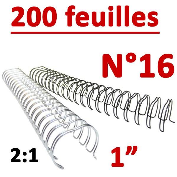 N°16: 25.4mm 200 feuilles 1 #Pas 2:1 (23 anneaux) #Boite de 50pcs