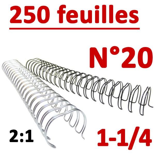 N°20: 31.8mm 250 feuilles 1-1/4 #Pas 2:1 (23 anneaux) #Boite de 50pcs