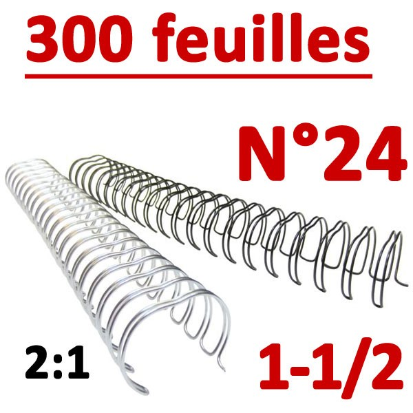 N°24: 38.1mm 300 feuilles 1-1/2 #Pas 2:1 (23 anneaux) #Boite de 30pcs